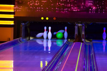Ball Does Strike On Ten Pin Bowling In Skittle-ground.