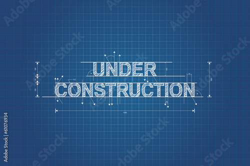 Obraz Under construction blueprint, technical drawing, scribble style - fototapety do salonu