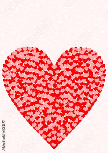 Grußkarte großes Herz aus vielen kleinen Herzen auf rosa - kaufen Sie diese Vektorgrafik und