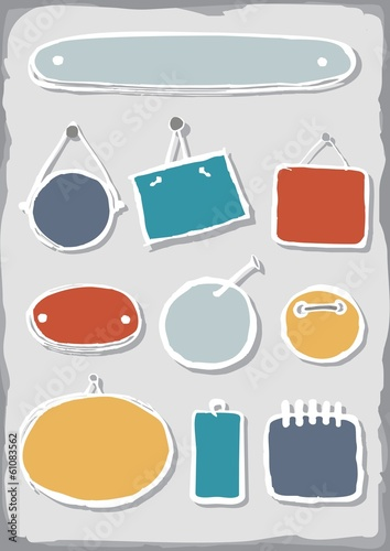 Obraz kolorowe puste ramki zestaw elementów - fototapety do salonu