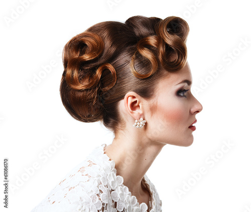 Fotografie, Obraz  Elegant girl in a white dress - beautiful hairstyle with curls o