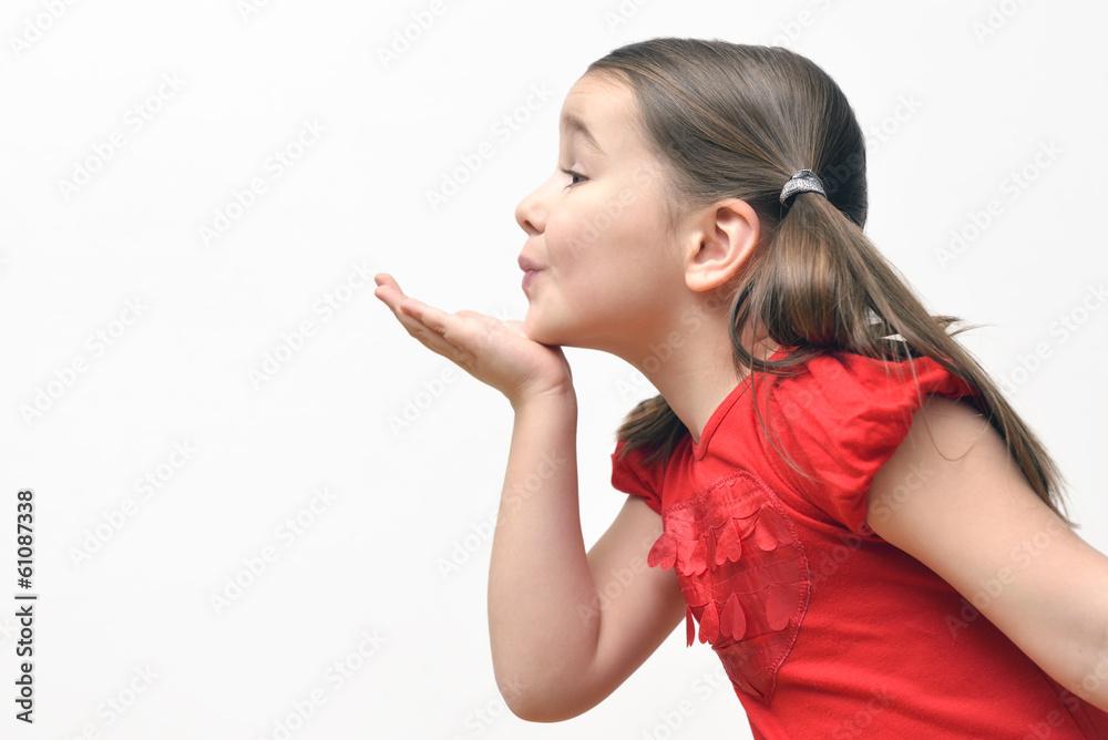 Fototapety, obrazy: Little girl blowing kisses