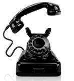 Czarny rocznika telefon, odosobniony - 61087704