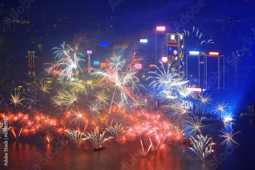 HONG KONG - 1 JANUARY, A splendid firework show and countdown ce Poster