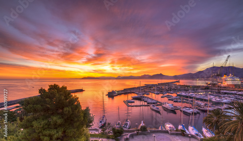 Aluminium Prints Palermo Sunrise at Palermo Harbour