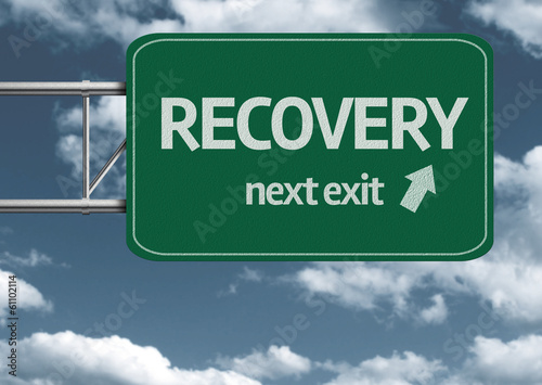 Fotografie, Obraz  Recovery, next exit creative road sign and clouds