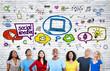 Leinwanddruck Bild - People Looking up at Social Media Icons