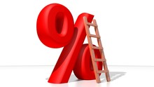 Red Percent With Wooden Ladder