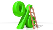 Green Percent With Wooden Ladder