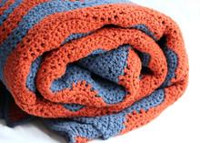 Grey And Terracotta Crocheted Blanket