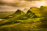 Scenic view of Quiraing mountains sunset with dramatic sky, Scot