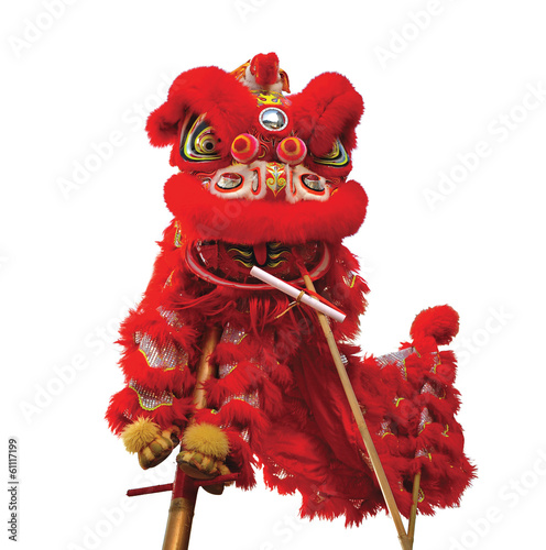 Photo  Chinese lion costume used during Chinese New Year celebration