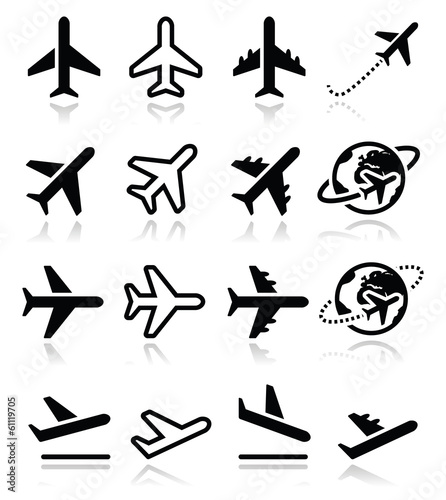 Plane, flight, airport  icons set Wall mural