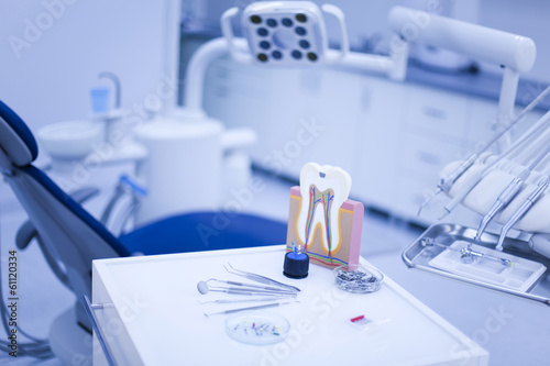 Fotografering  Dental instruments and tools in a dentists office