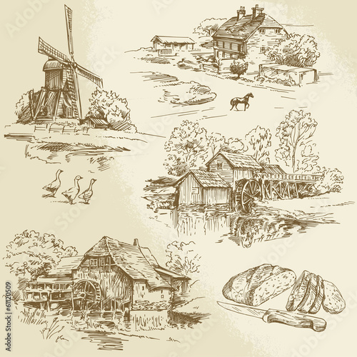 Canvas Print hand drawn collection - windmill and watermill