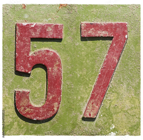 Photo  plate with a number 57
