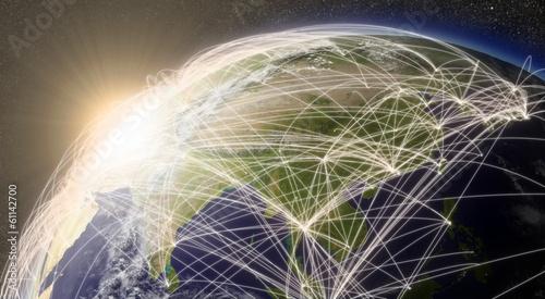 Fotografie, Obraz  Network over East Asia