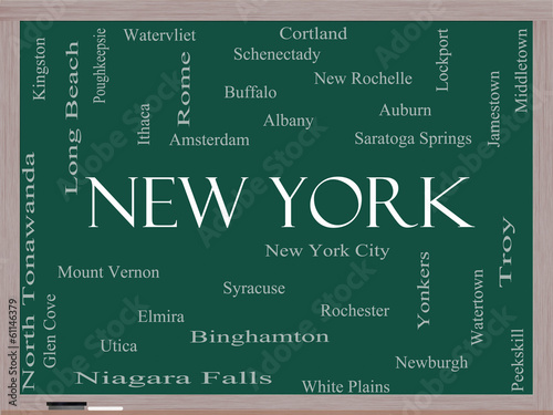 Photo  New York State Word Cloud Concept on a Blackboard