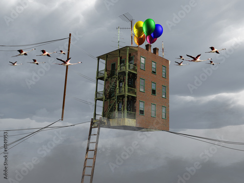 Photo  flying house