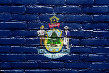 Maine State Flag Painted On Br...