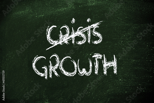 Fotografía  the word Crisis deleted and replaced by Growth