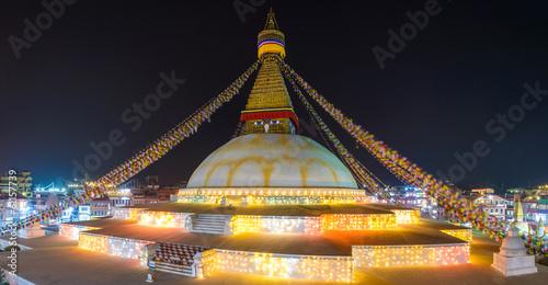 Wall Murals Nepal Boudhanath stupa illuminated for Losar in Kathmandu