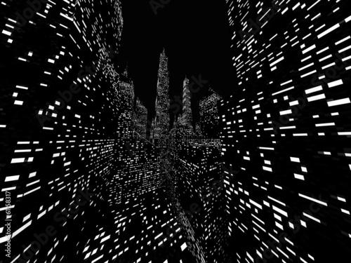 Big city night scene rendered