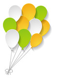 a bunch of paper balloons on the white background