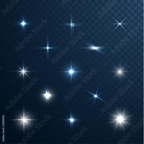Obraz Stars and sparkles collection on transparent background - fototapety do salonu
