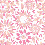 vector pink abstract flowers seamless pattern background