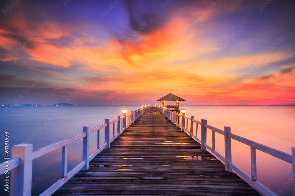 Fototapeta Wooded bridge