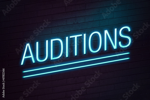 Audition neon sign on wall Canvas Print