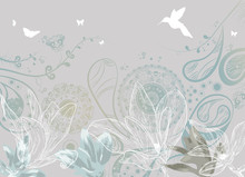 Vintage Floral Background With Butterflies And Humming-bird
