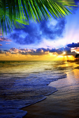 Beautiful Caribbean sunrise. Morning sky.