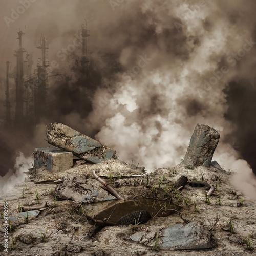 Fotografía  Gruzy i dym na tle zniszczonego miasta