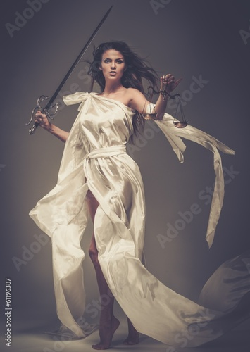 Fotografie, Obraz  Femida, Goddess of Justice, with scales and sword