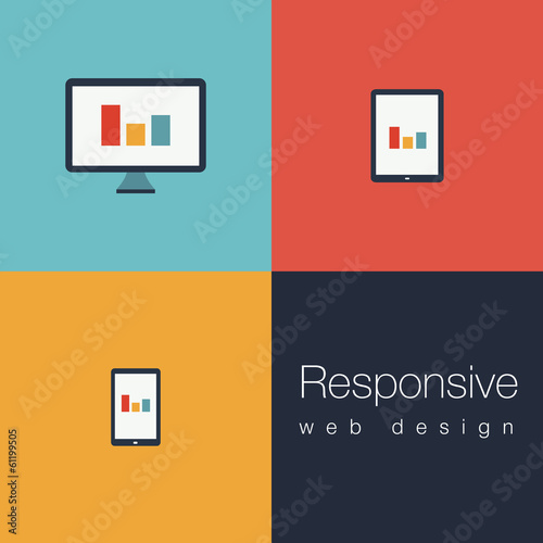 Obraz Set of flat responsive web icons - fototapety do salonu