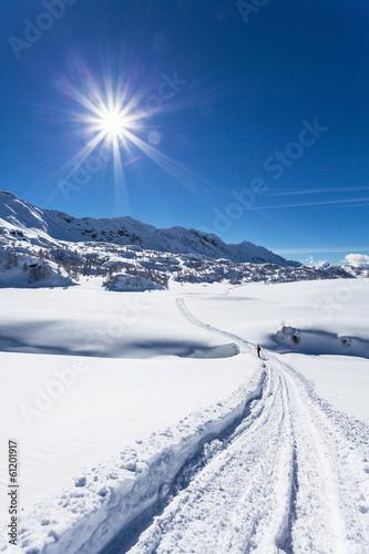 Obraz escursione con racchette da neve - fototapety do salonu