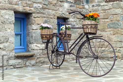 osniedzialy-bicykl-przed-tradycyjnym-domem-w-epirus-grecja