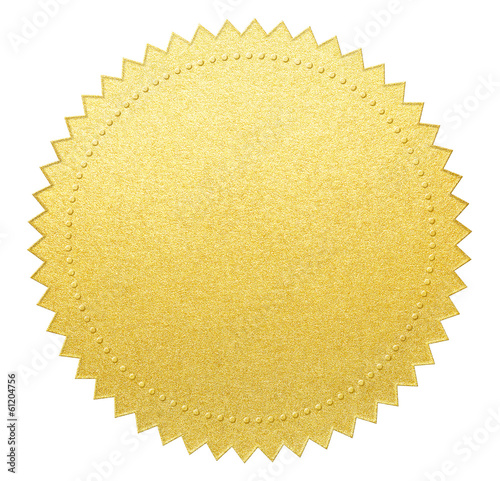 Foto gold paper seal or medal with clipping path included