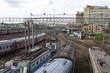 Trains on track junction station