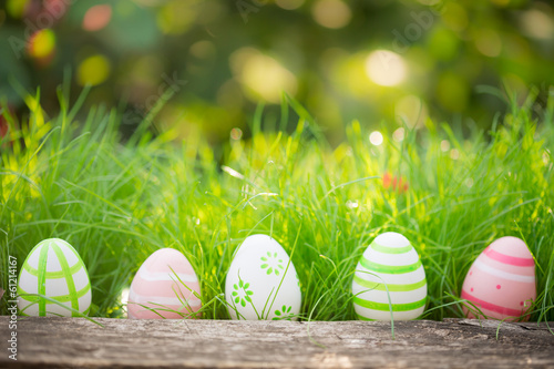 Photo  Easter eggs on green grass
