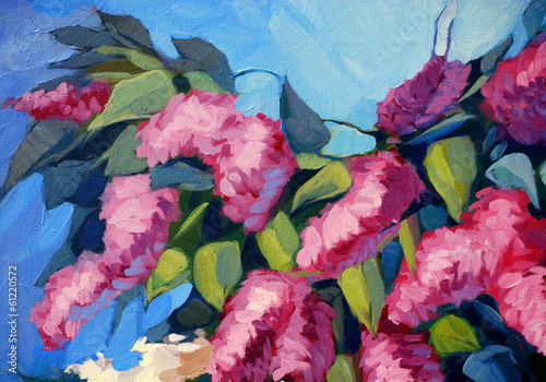 lilac flowers, painting by oil on canvas,  illustration