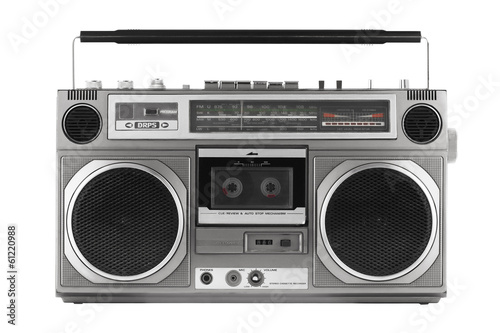 Retro ghetto blaster isolated on white with clipping path Wallpaper Mural