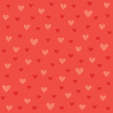 Seamless hipster hearts pattern in red and orange