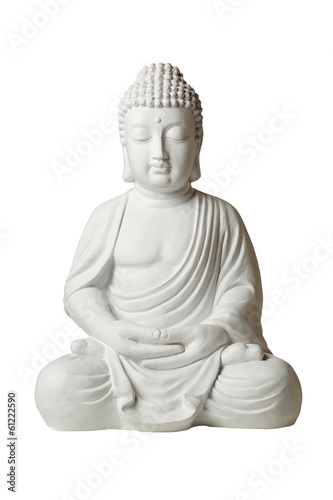 Statue of Buddha in lotus position, isolated on white