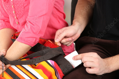 Deurstickers Vechtsport Pickpocket are stealing mobile phone from bag, close up