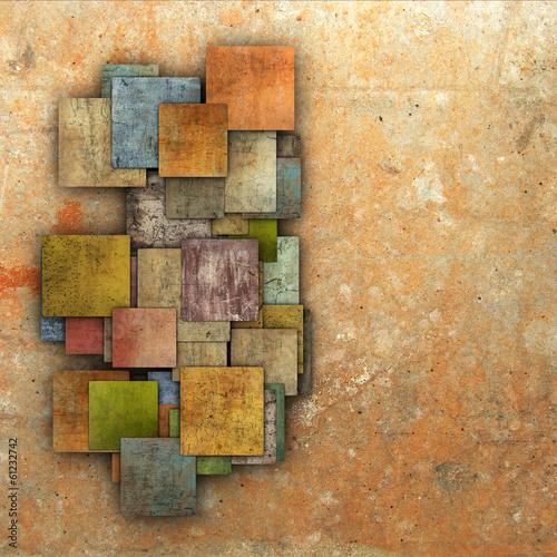 3d fragmented multiple color square tile grunge pattern backdrop