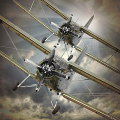 Fototapeta Retro style picture of the biplanes. Transportation theme.