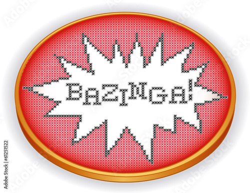 Photo  Bazinga Embroidery, fun cross stitch design on retro sewing hoop